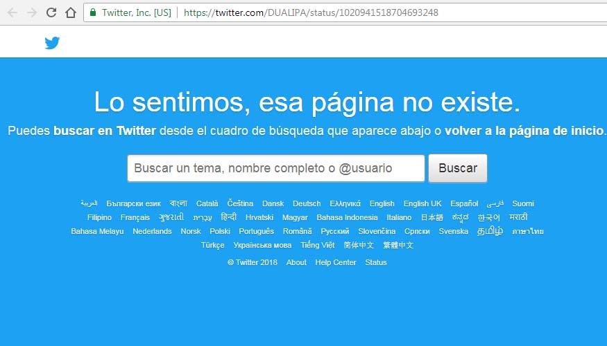 Dua Lipa eliminó el tuit.